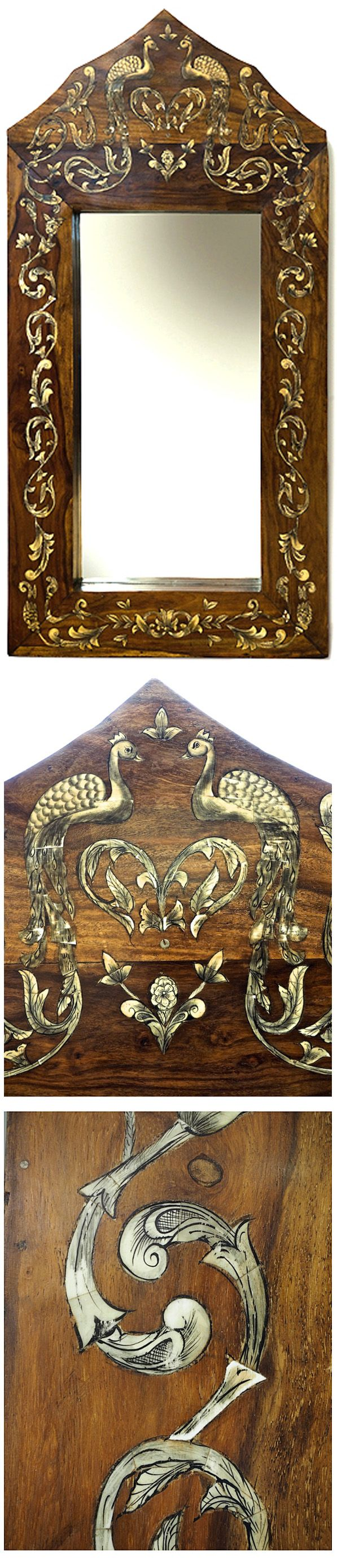 Inlaid Indian mirror with peacocks and floral designs. By from Bringing It All Back Home. http://bringingitallbackhome.co.uk/shop/inlaid-arched-mirror/