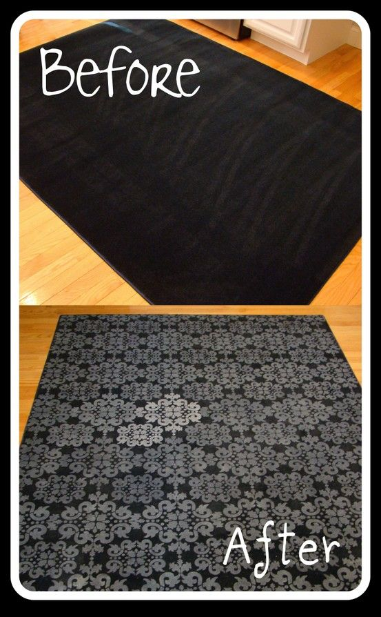 Forget paying $ 50-100+ for a rug! Buy a cheap one and decorate it yourself. This woman used a plain rug from Lowe's (only $ 24.98!), a stencil and white acrylic paint from Hobby Lobby (on sale!), and a foam roller. There are so many different color/design combinations you can use to inexpensively create a unique rug for your room. - Click image to find more Home Decor Pinterest pins