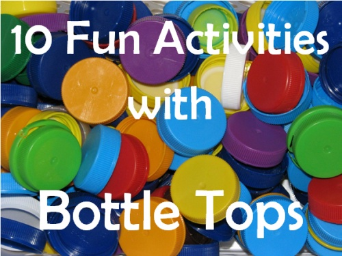 10 Activities with Bottle Tops - Alphabet, numbers, painting, imaginative play.....so many creative ideas! {learning4kids}