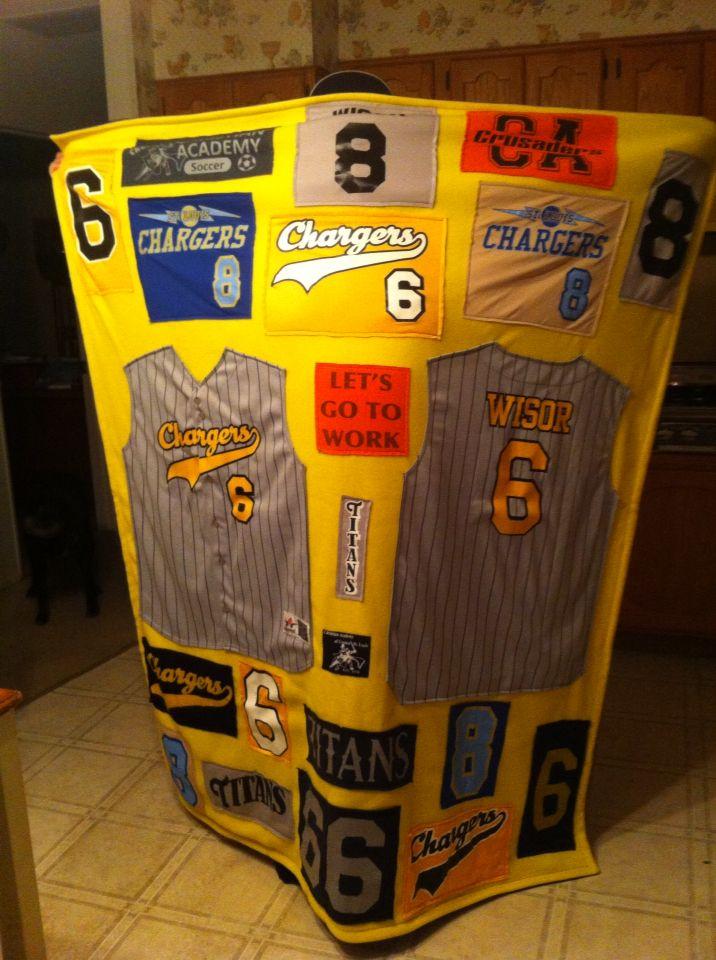Baseball jerseys quilt. Lots of memories