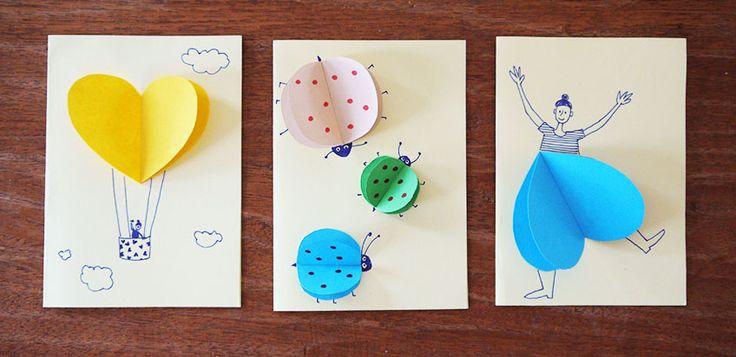 Für Geburtstagskarten, für Einladungen, für Hochzeiten: Diese 3D Karten mit Herzen mit Kindern zu basteln ist eine Freude!