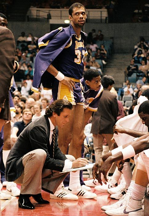 Kareem with coach Pat Riley in 1984.
