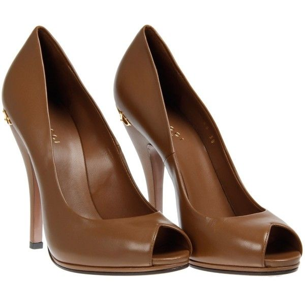 Gucci Tobacco Red Charlotte Peep Toe Pumps found on Polyvore