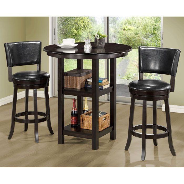 Enjoyable Piety Round Top Bar Table Cappuccino Two Shelves Machost Co Dining Chair Design Ideas Machostcouk