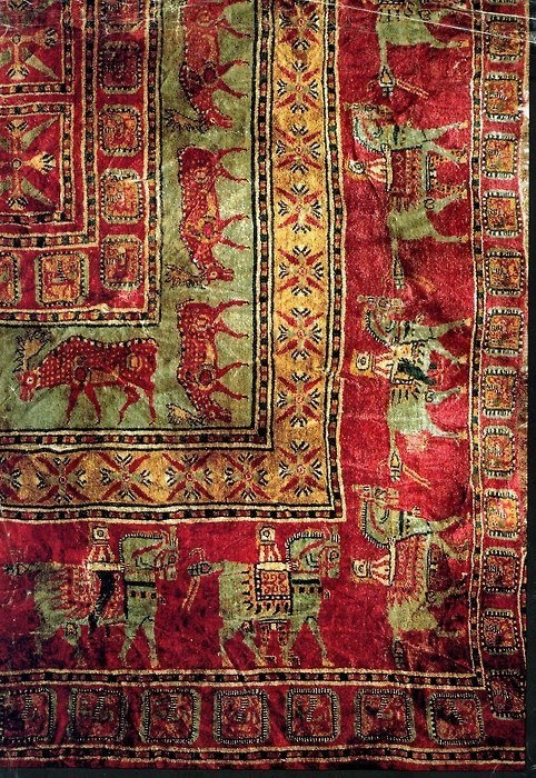 The Pazyryk Carpet - Detail of the most ancient pile carpet in the world, found to date. (Circa 400 BC, Pazyryk Barrow, the Altai region where Russia, China and Mongolia come together.)