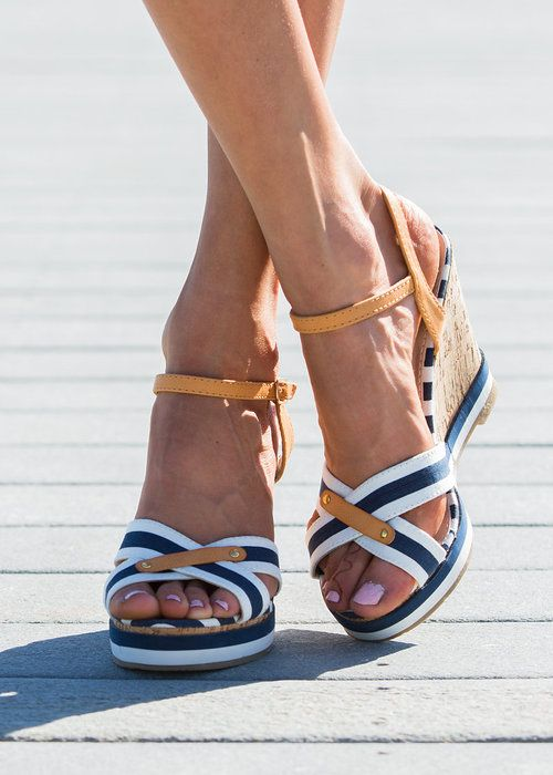 Stripe wedge, Wedge Sandal, Summer shoes, Wedges, online boutique - Modern Vintage Boutique