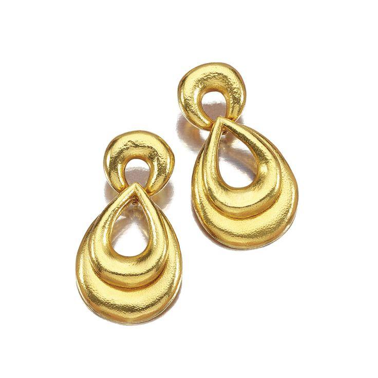 PAIR OF EAR PENDANTS, ZOLOTAS. Each surmount designed as textured demi-lune suspending graduated pear-shaped pendants, signed Zolotas.