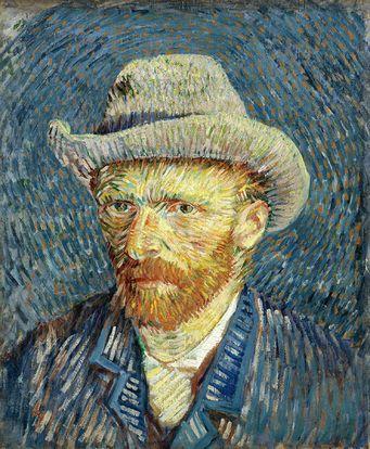Quadro Auto-Retrato com chapéu de feltro cinza de Vincent van Gogh - A marca d'água acima (quadrosetelas.com) não aparecerá no produto final.