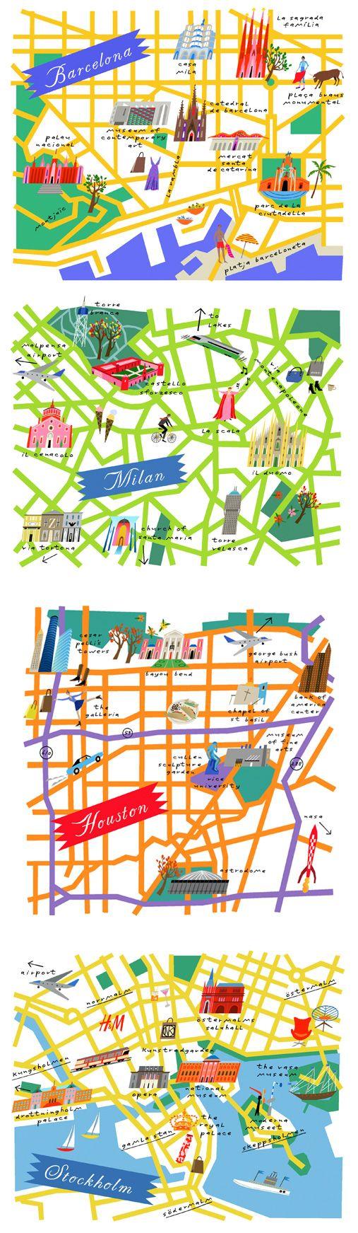 Lena Corwin - maps od Barcelona, Milan, Houston and Stockholm