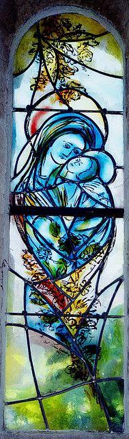 Stained Glass Window at Saint Sigismond Church, Larressingle, Gascony, France