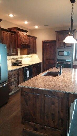 New Kitchen, Knotty Alder With Dark Walnut Stain.