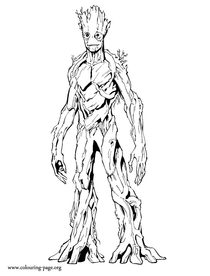 groot is a tree like creature and an extremely powerful superhero he is a superhero coloring pagesprintable