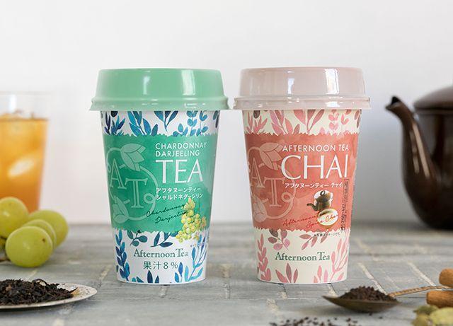 アフタヌーンティー初のチルドカップティーが新登場 Afternoon Tea カップデザイン ブッセ ワイン ラベル