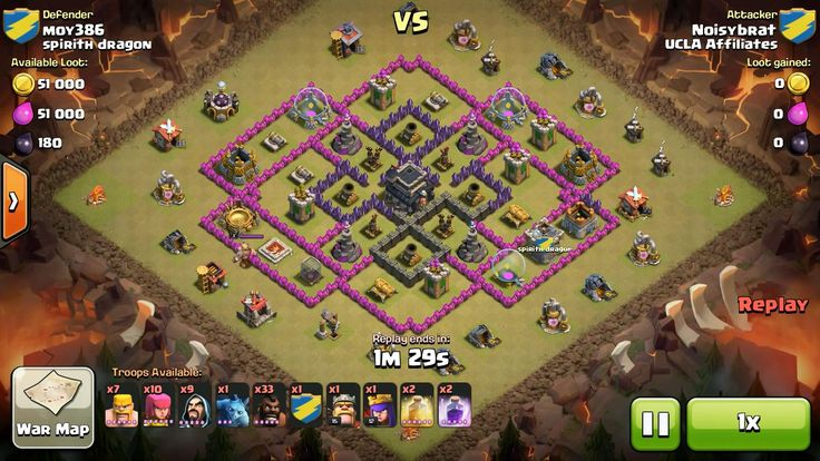 Attacker TH9: 33 Level 5 Hog Rider, 7 Level 6 Barbarian, 10 Level 6 Archer, 5 Level 4 Archer, 9 Level 5 Wizard, Level 12 Archer Queen, Level 15 Barbarian King, 2 Level 5 Rage Spell, 2 Level 6 Healing Spell Defender TH9: Level 1 Barbarian King, Rank 2/20