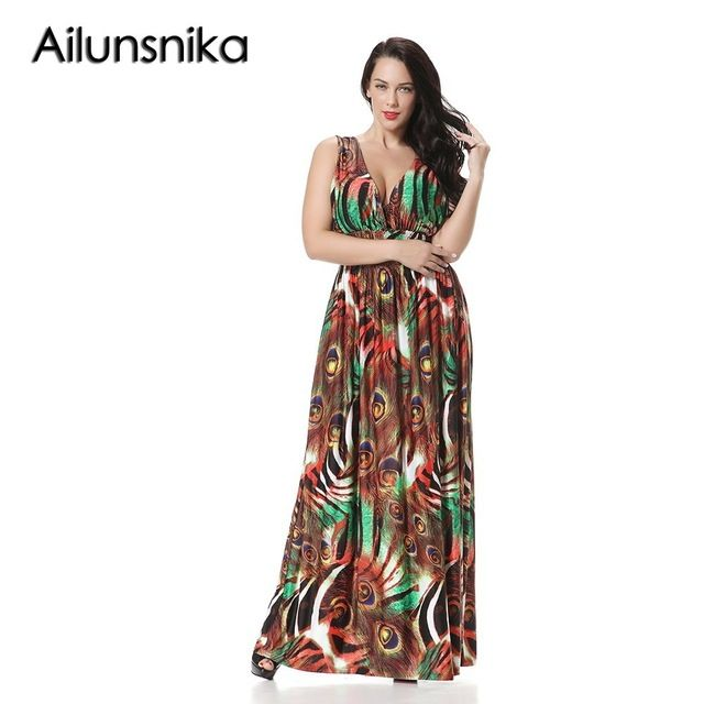 Ailunsnika Women Plus Size Beach Dress Boho Peacock Print Casual V Neck Sleeveless Long Summer Maxi Dress Prom Vestidos CH6032 - As Shown, 4XL