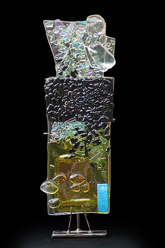 """Ice by Suzanne Wallace Mears  kiln formed glass  20"""" tall $1800 #contemporary #glass #canyonroad #abstractart #santafe"""