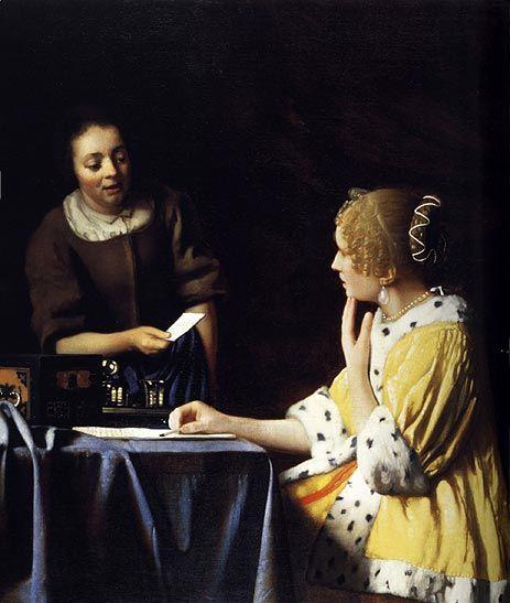NOORDELIJKE NEDERLANDEN - Genrestuk-------------- - Johannes Vermeer  - Dame en dienstmeisje  - 1666 - 1667  - Noord Nederland  - Dit is een voorbeeld van genrekunst, omdat het een dagelijks tafereel laat zien. Hier zie je bijvoorbeeld dat een dienstmeisje de post geeft aan de dame waarvoor ze werkt.