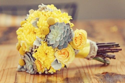 love: Yellow Flowers, Colors Combos, Bridal Bouquets, Yellow Wedding, Grey Flowers, Colors Schemes, Yellow Bouquets, Bridesmaid Bouquets, Succulent Bouquets