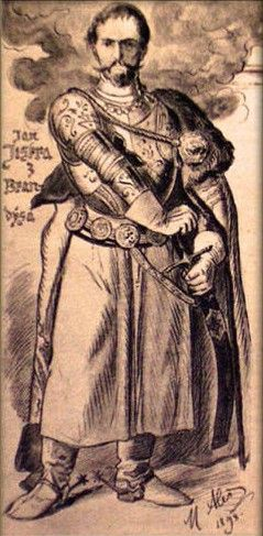 Jan Jiskra z Brandýsa, who led Elisabeth of Luxembourg's troops against Wladislaw III 1440-42 and possessed Northern Hungary 1442-51ish.  by Mikoláš, Aleš