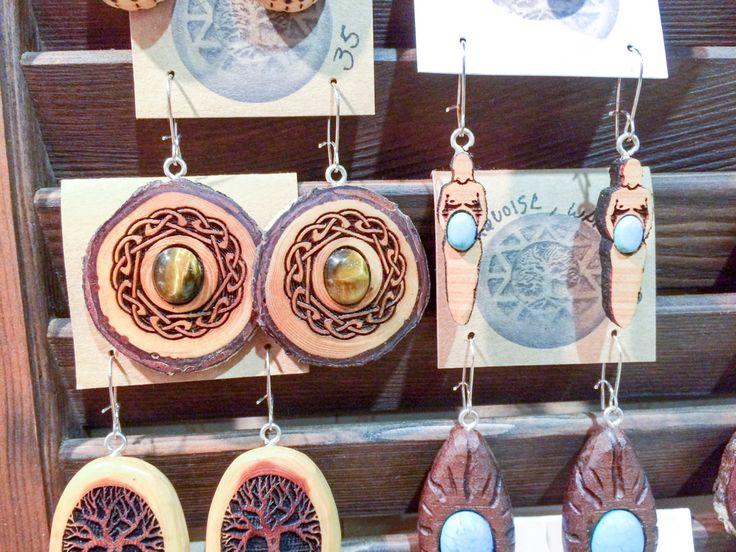 Wooden earrings by Jeff Wilson, Mystic Orb Talismans