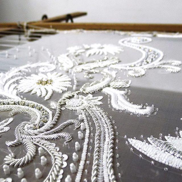White and silver bridal swatch... #workinprogress #weddingdress #bridetobe…