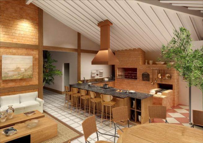 Espaço gourmet na área externa com fogão à lenha junto a área de churrasqueira em tijolo aparente.  http://www.decorfacil.com/cozinhas-com-fogao-a-lenha/