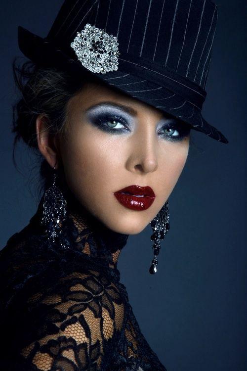 Striking woman in black Fedora