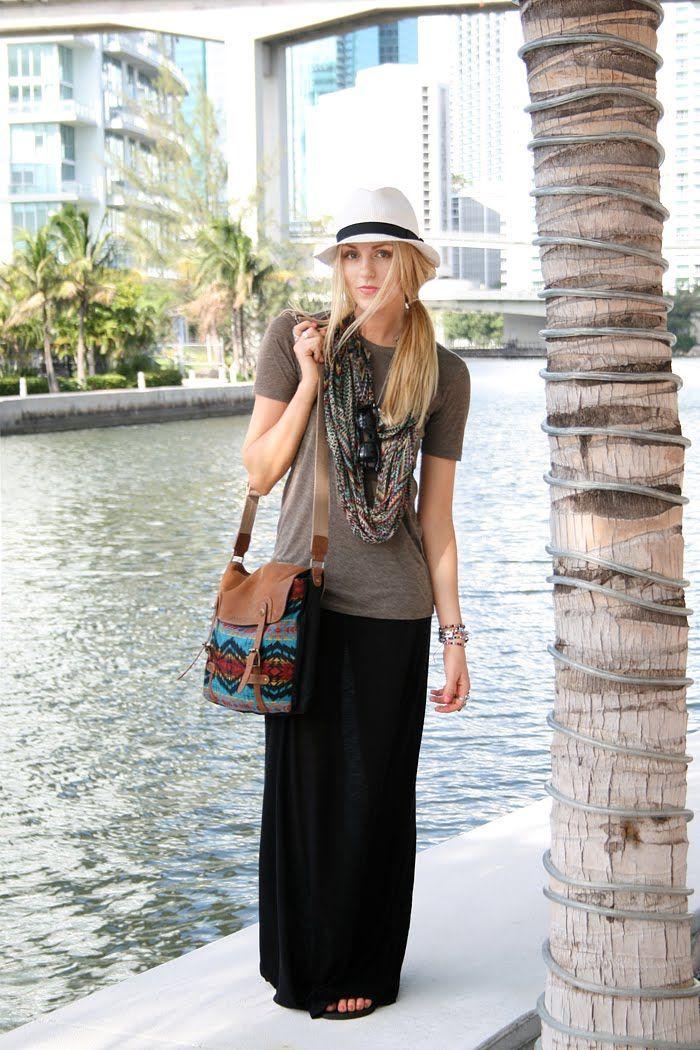 Plain tee, plain maxi skirt, tribal printed accessories...sexy time. maxi dress #anna7891 #style for women #womenfashionwww.2dayslook.com