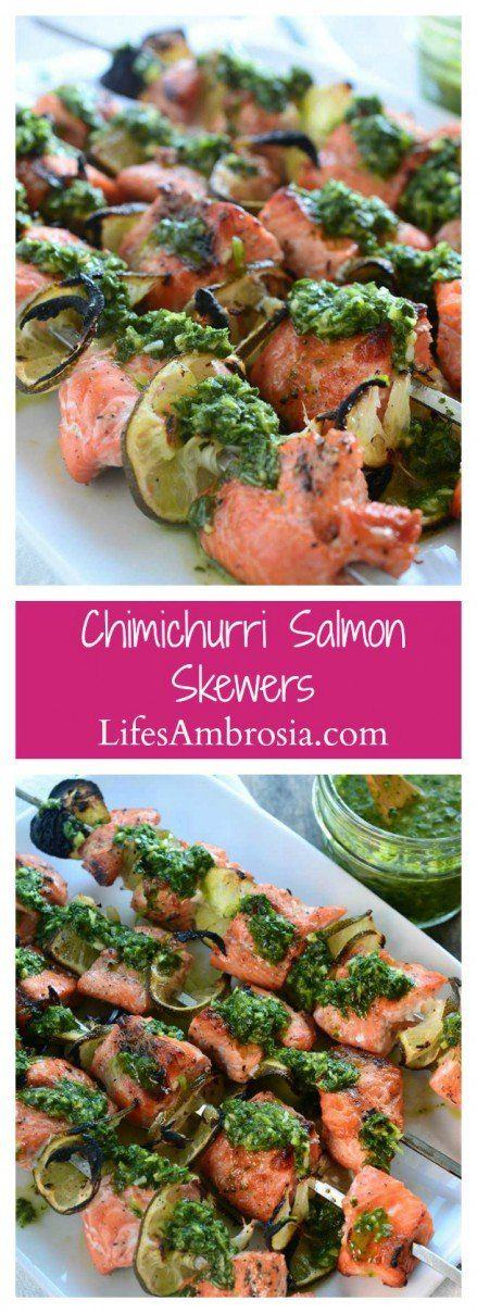 Celebrate salmon season with these quick, easy and oh so flavorful Chimichurri Salmon Skewers. Simple salmon perfection.