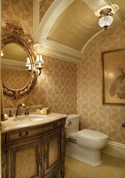 Best 25 elegant glam powder room ideas on pinterest for Thick bathroom wallpaper