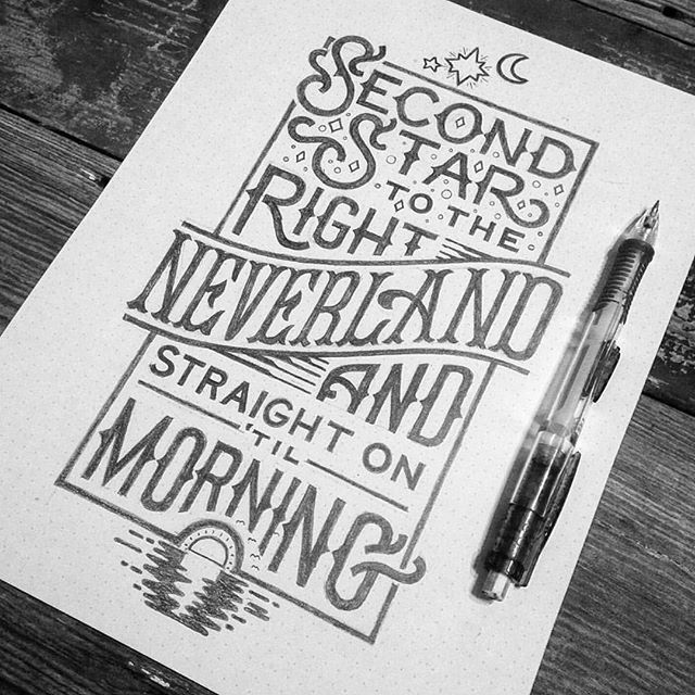 lettering_co: Peter Pan inspired lettering by jonbensondesigns | typography second star to the right