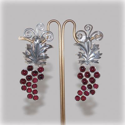 Grapes clip-on earrings with garnet and sterling silver details. Made in our workshop by greek hands.