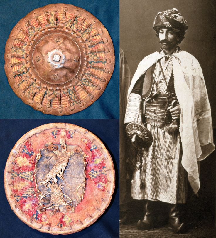 "Ottoman Kurdish irregular soldier from Palu, wearing a silahlik (weapons belt) and holding a kalkan shield composed of concentric wicker attached by threads, the exterior made up of radial steel bars linking the steel frame to the steel domed center boss. From:Les costumes populaires de la Turquie en 1873, 74 photographic plates by Pascal Sebah, published by the Imperial Ottoman Commission for the ""Exposition Universelle"" of Vienna in 1873."