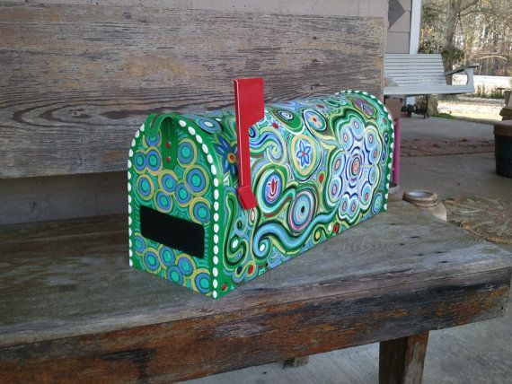 Fun, Funky Painted Mailbox on Etsy, $175.00