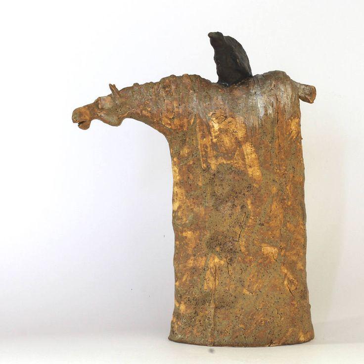 Horse & ravens 2.39, Ceramic Sculpture, Unique Ceramic Figurine, Horse, Clay Horse, Raven by arekszwed on Etsy