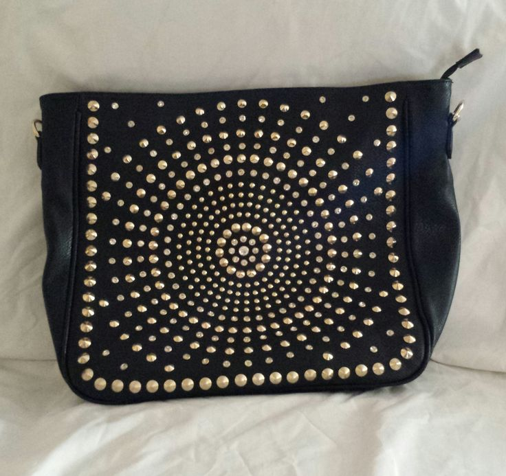 """AGTS"" Logo Single Handle Shoulder Bag Circular Design  Rhinestones and Studs $80.00"