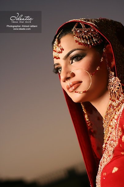 Eleborate #Bridal #Jewlery includes Jhoomar on hair, Maang Tikka (on forehead) and 'Nath' (large nose ring) @ ideatic.com