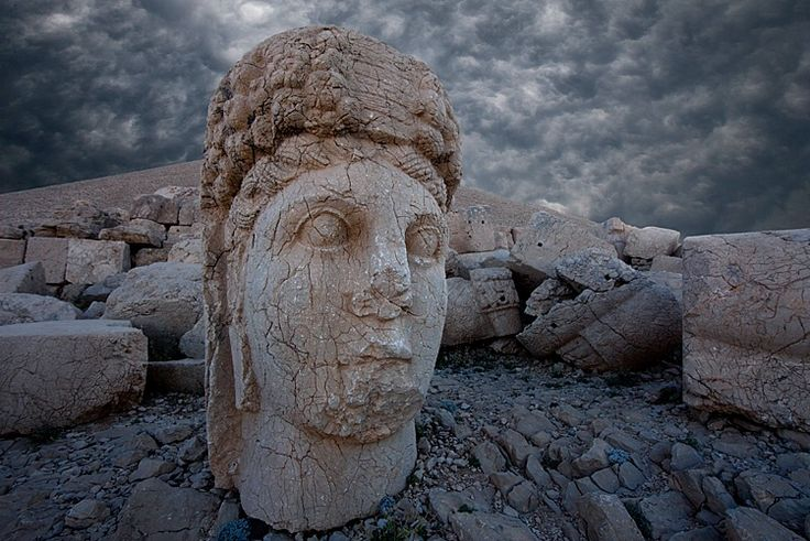 Colossal head of the Goddess Commagene, Western Terrace, Commagene Kingdom, 1st century B.C., Mt. Nemrut (Nemrud, Nemrut Dağı), Turkey