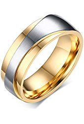 7mm Stainless Steel Gold Plated Two-tone Promise Rings for Couples, Wedding Bands for Men and Women