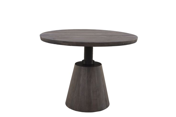 """Bronx Crank Dining Table Dimensions: WDH"""": 48 x 48 with adjustable top 30-42"""" high Made with Acacia Wood Vinegar Matte Finish"""