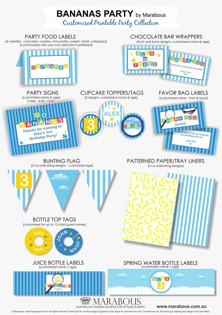 DIY Printables - Bananas in Pyjamas Party theme
