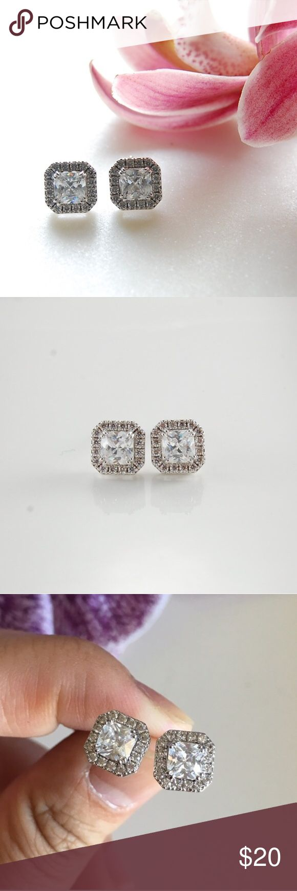 CZ Studs | Square Square cubic zirconia studs surrounded by additional CZs. Single CZ is .75 karat. Includes box. Price firm unless bundled. {E3186}   Instagram: @bringingupsuns Jewelry Earrings