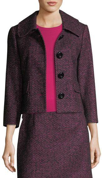 Michael Kors Herringbone Tweed Cropped Jacket