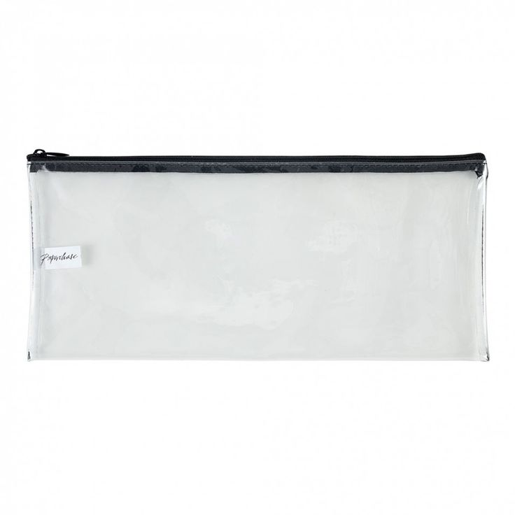 Long clear pencil case with black zip