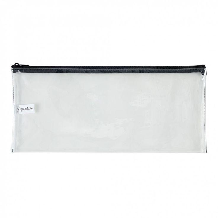 Long clear pencil case with black zip - Pencil cases & Pen pots - Desk Accessories - Stationery