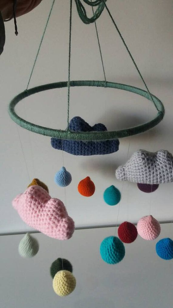 Crochet mobile pendant clouds with raindrops by NeemaCreations