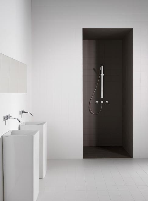 white bath + black shower + minimal