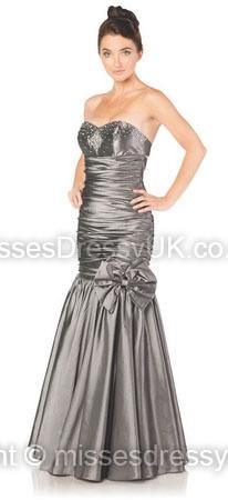Trumpet/Mermaid Sweetheart Taffeta Floor-length Silver Beading Prom Dress