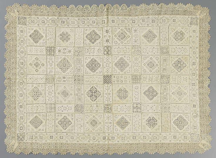 Sprei van linnen met borduurwerk en reticella, anoniem, ca. 1550
