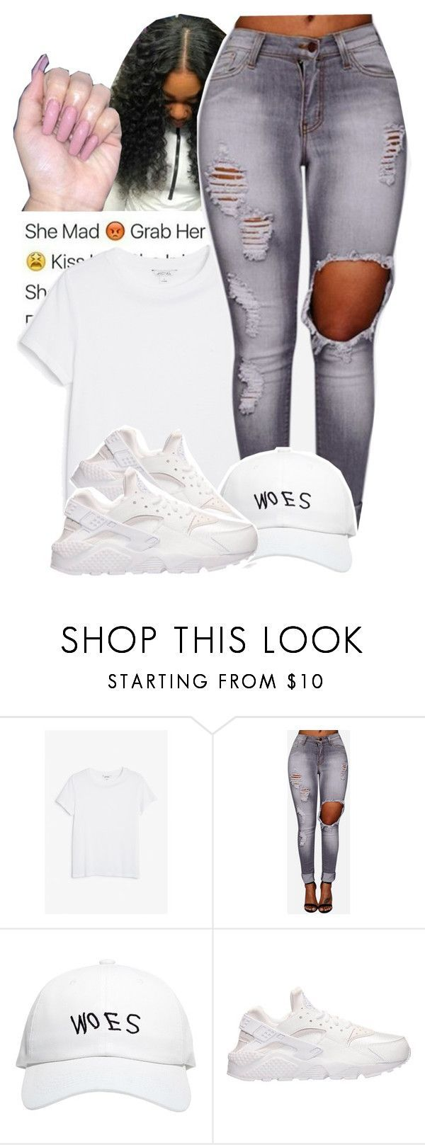 """""""I'm Mad At Him"""" by jayzhee ❤ liked on Polyvore featuring Monki, October's Very Own and NIKE"""